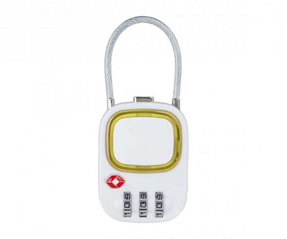 TSA Kofferschloss REFLECTS-COLLECTION 500 Werbegeschenk weiß/gelb