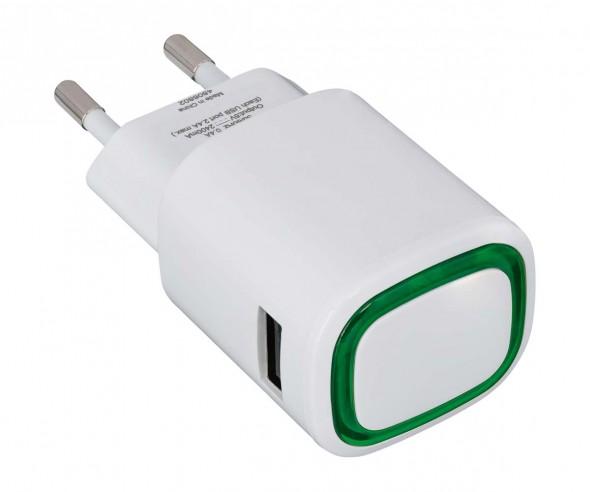 USB-Ladeadapter REFLECTS-COLLECTION 500 Werbegeschenk weiß/grün
