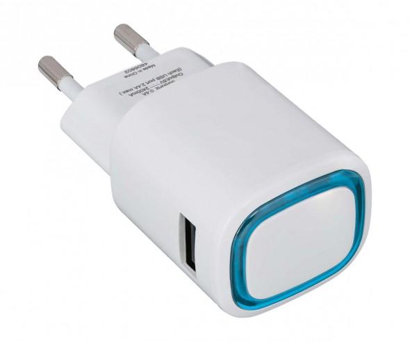 USB-Ladeadapter REFLECTS-COLLECTION 500 Werbepräsent weiß/hellblau