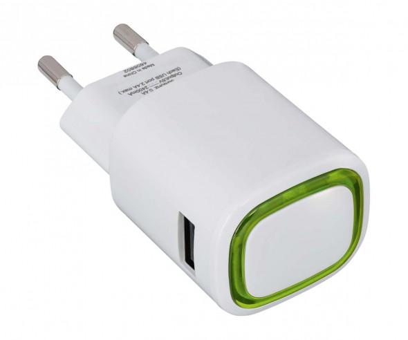 USB-Ladeadapter REFLECTS-COLLECTION 500 Promotion-Artikel weiß/hellgrün