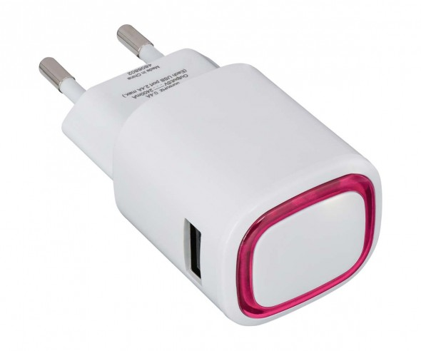 USB-Ladeadapter REFLECTS-COLLECTION 500 mit Logo weiß/magenta