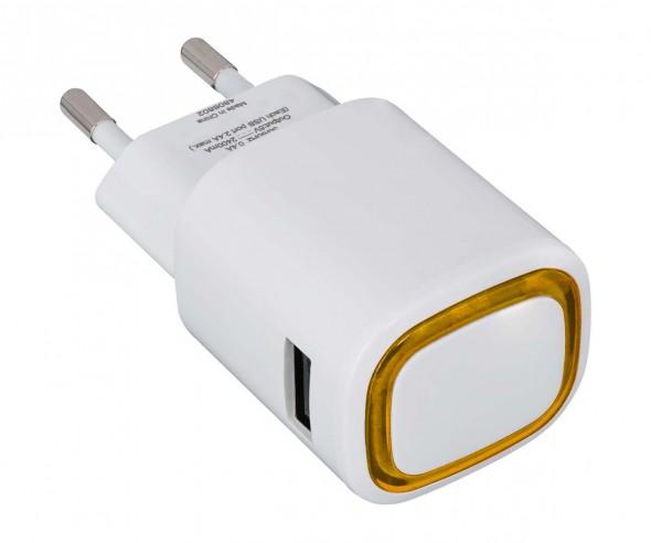 USB-Ladeadapter REFLECTS-COLLECTION 500 mit Werbeanbringung weiß/orange