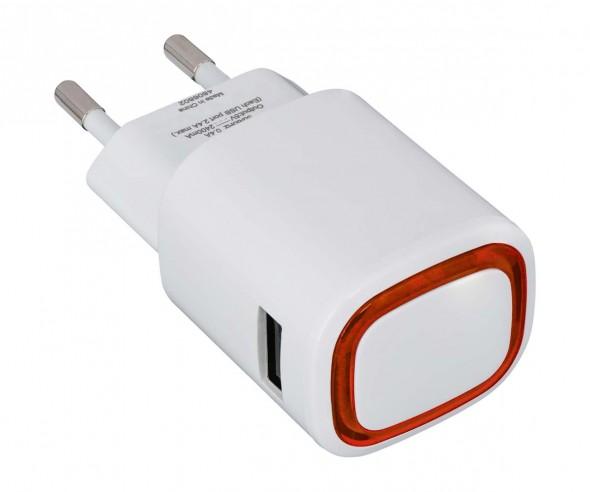 USB-Ladeadapter REFLECTS-COLLECTION 500 mit Beschriftung weiß/rot