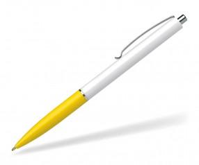 Schneider Werbekugelschreiber K15 mit Drücker weiss gelb