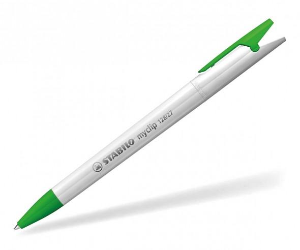 STABILO Kugelschreiber Myclip vollton weiß grün