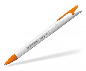 STABILO Kugelschreiber Myclip vollton weiß orange