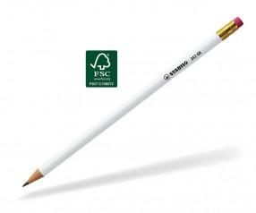 STABILO Bleistift 242 GK rund weiss mit Radierer
