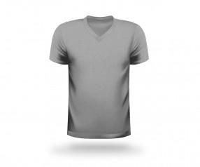 T-Shirt bedrucken V-Neck Werbeartikel DÜSSELDORF grau
