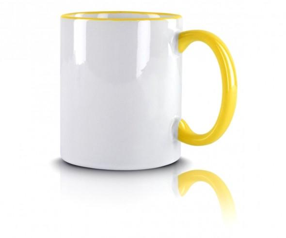 Werbeartikel Kaffeetasse gelb incl High-Quality Druck