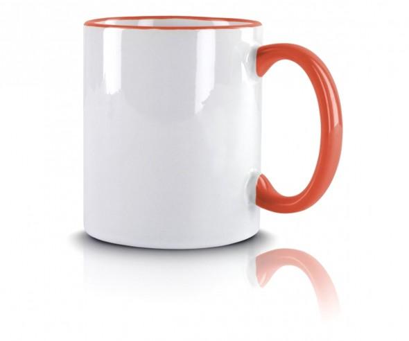 Werbeartikel Kaffeetasse orange incl High-Quality Druck