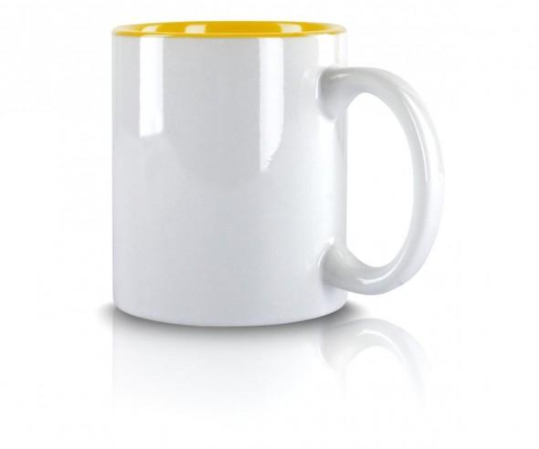 Werbetasse weiss Innenseite gelb incl High-Quality Druck