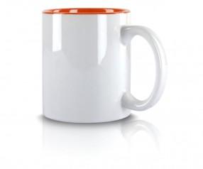 Werbetasse weiss Innenseite orange incl High-Quality Druck