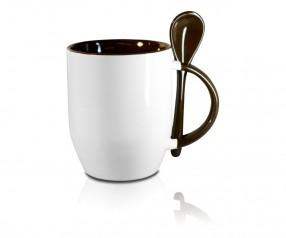 Werbeartikel Tasse mit Löffel in braun incl. High-Quality Druck