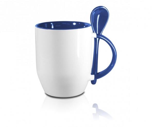 Werbeartikel Tasse mit Löffel in blau incl. High-Quality Druck