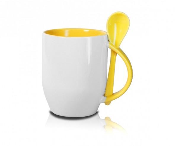 Werbeartikel Tasse mit Löffel in gelb incl. High-Quality Druck