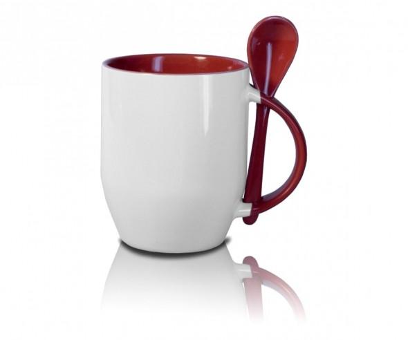 Werbeartikel Tasse mit Löffel in rot incl. High-Quality Druck