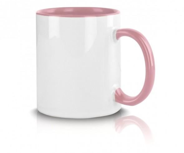 Bedruckte Tasse Werbemittel pink incl. High-Quality Druck