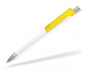 UMA CHECK 1-0142 K frozen TOP SI Kugelschreiber weiss gelb