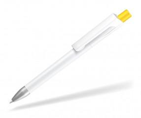 UMA CHECK 1-0142 SI Kugelschreiber weiss Drücker dunkelgelb