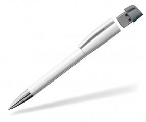 USB-Kugelschreiber Klio Turnus M UC, weiss grau