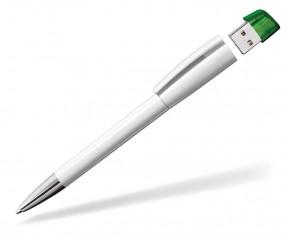 USB-Kugelschreiber Klio Turnus M UITR weiss grün