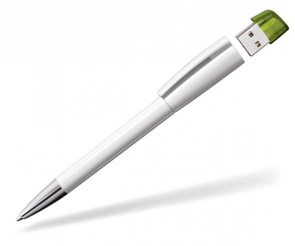 USB-Kugelschreiber Klio Turnus M UPTR weiss hellgrün