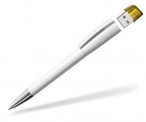 USB-Kugelschreiber Klio Turnus M URTR weiss gelb