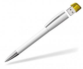 USB-Kugelschreiber Klio Turnus M USTR weiss sonnengelb