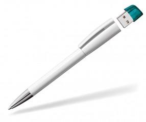 USB-Kugelschreiber Klio Turnus M UTTR weiss türkis
