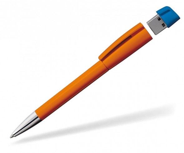 USB Werbekugelschreiber Klio Turnus M W dunkelorange hellblau