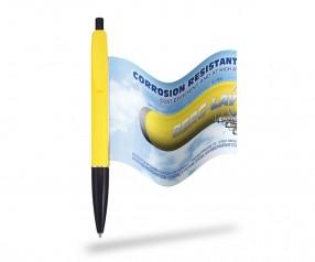 Werbefahnenkugelschreiber mit ausrollbarem Flyer Info Pen 1105 Premium, GELB