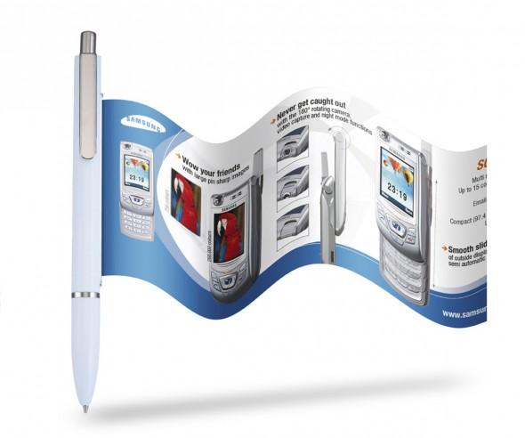 Info-Pen 1102 Slimline Kuli incl. 4-farbigem Flyer ausziehbar, WEISS