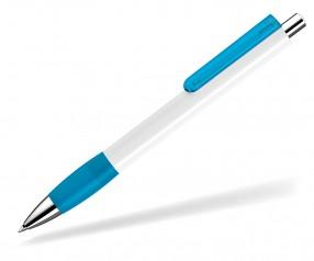 UMA Kugelschreiber PUSH grip 00118 KT SI weiss hellblau
