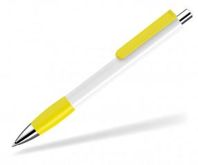 UMA Kugelschreiber PUSH grip 0-0118 SI weiss gelb